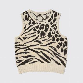 vintage animal cotton knit vest
