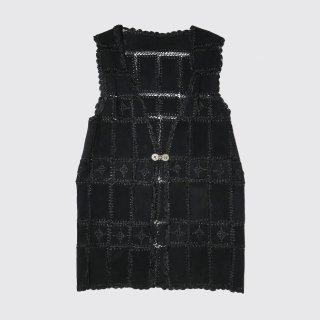 vintage suede crochet vest