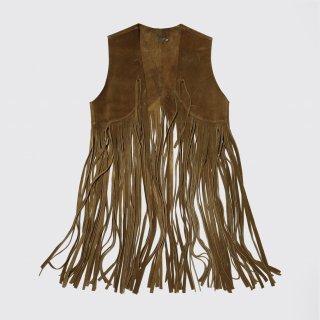 vintage suede fringe vest
