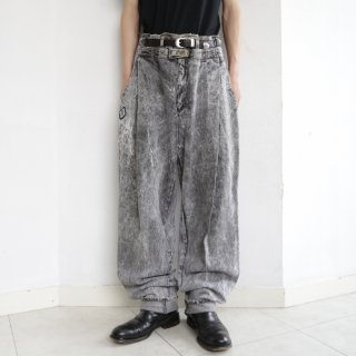 old double waist chemical wash wide jeans