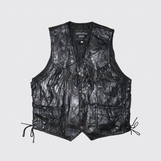vintage lace up fringe leather vest