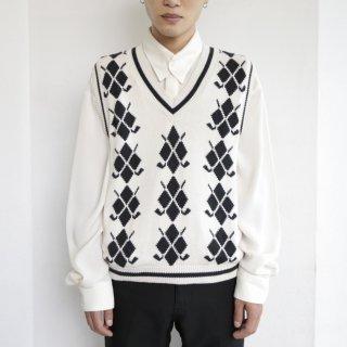 old diamond knit vest