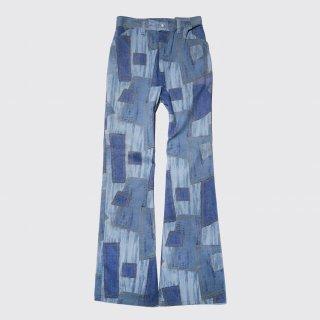 vintage patchwork print flare jeans