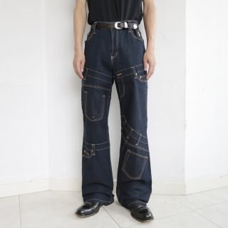 old irregular pattern flare jeans