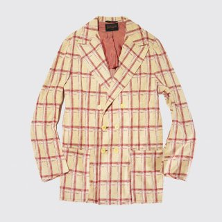 vintage check poly double breasted jacket