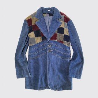 vintage patchwork denim tailored jacket