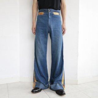 vintage leather side line flare jeans