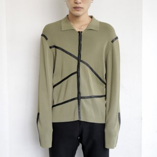 old leather taping knit jacket