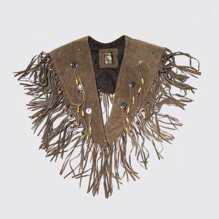 vintage fringe suede leather cape