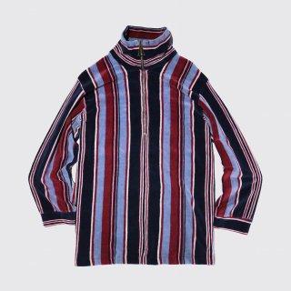 vintage stripe velour half zip l/s