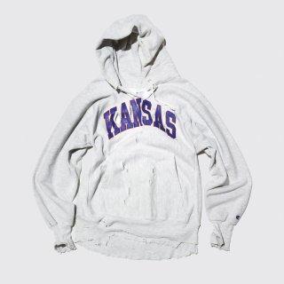 vintage broken hoodie , 90's champion reverse weave , kansas univ.