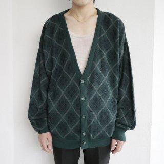 old acrylic argyle cardigan