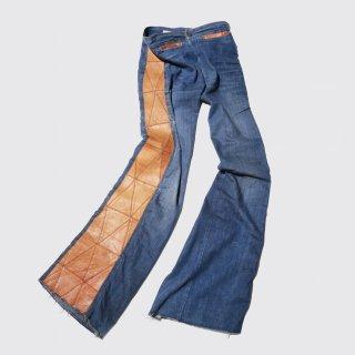 vintage side leather craft flare jeans