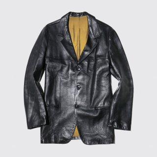 vintage french leather tailored jacket