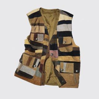 vintage patchwork craft leather vest