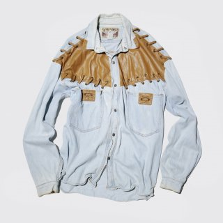 vintage leather combi denim shirt