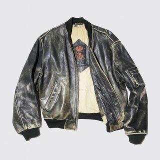 vintage euro broken leather bomber jacket