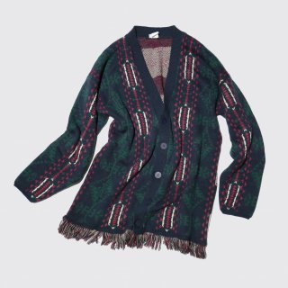 vintage naitive pattern fringe cardigan