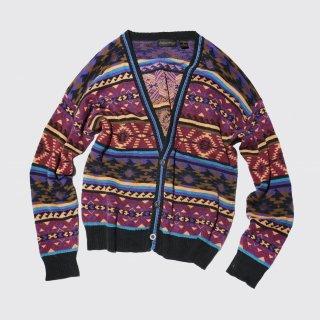 vintage naitive pattern cotton cardigan