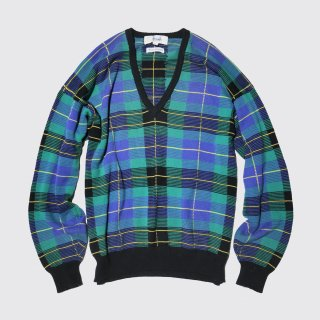 vintage hand knit check sweater