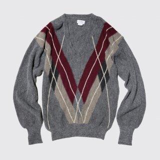 vintage argyle alpaca v sweater