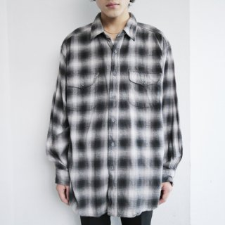 old ombre check heavy flannel shirt