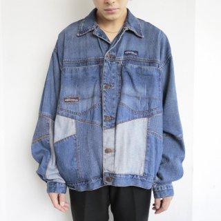 old patchwork baggy trucker jacket