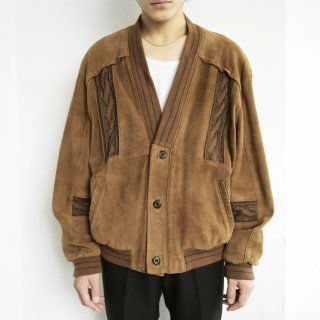 old suede leather combi cardigan