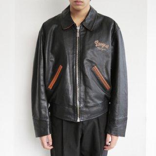 vintage chevignon french leather varsity jacket