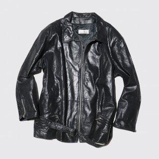vintage leather python zipped jacket