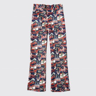 vintage geometry flare poly trousers