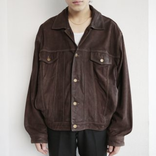 old oiled leather trucker jacket