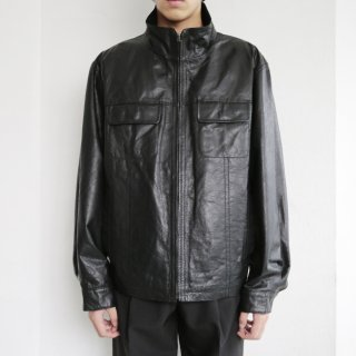 old stand collar zipped leather jacket