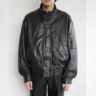 old stand collar leather bomber jacket