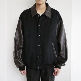 old leather sleeve stadium jacket