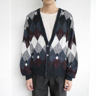old argyle pattern cardigan
