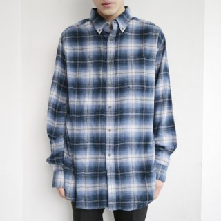 old ombre check flanel shirt