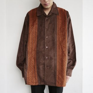 old cut out faux suede shirt