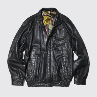 vintage stand collar leather jacket