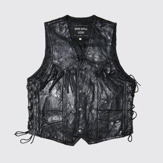 vintage patchwork fringe leather vest