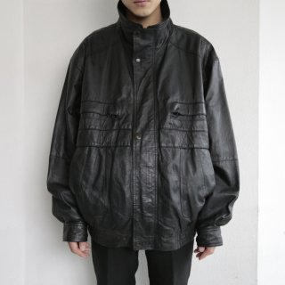 old loose stand collar leather jacket