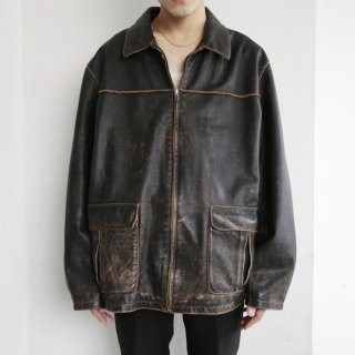 old faded zipped leather jacket