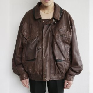 old loose gimmick leather jacket