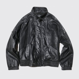 old stand collar combi leather jacket