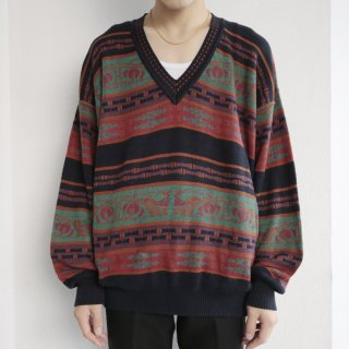 old mix border v sweater