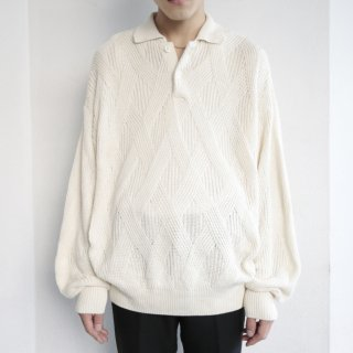 old woven cotton polo sweater