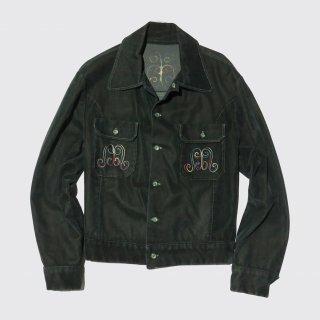 vintage broderie velvet trucker jacket