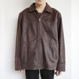 old belted leather jacket