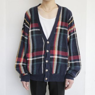 old check cotton cardigan
