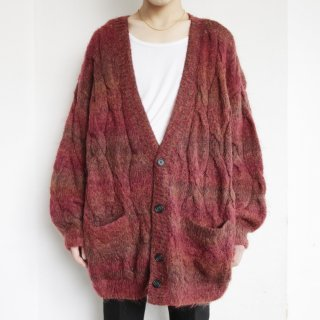 old long hair mohair hand knit cardigan